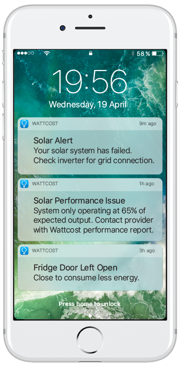 iPhone lock-screen that shows the notifications: 'Solar Alert - Your solar system has failed. Check inverter for grid connection.', 'Solar Performance Issue - System only operating at 65% of expected output. Contact provider with Wattcost performance report.' and 'Fridge Door Left Open - Close to consume less energy.'