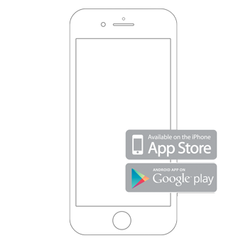 Smartphone outline that shows Apple App Store and Google Play Store.